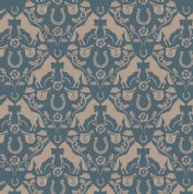 Lewis & Irene Farley Mount - 5570  - Taupe Horses on Teal - A225.3 - Cotton Fabric